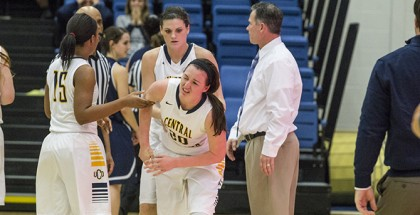 UCO women's basketball player McKenzie Solberg walks away after an altercation with Washburn number 44 Honor Duvall. UCO women lost 55-50 to Washburn Photo by Cooper Billington, The Vista